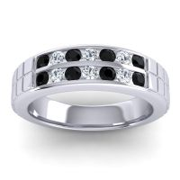 Black Onyx Polished Agkita Band with Diamond in Palladium