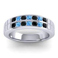 Black Onyx Polished Agkita Band with Swiss Blue Topaz in 18k White Gold