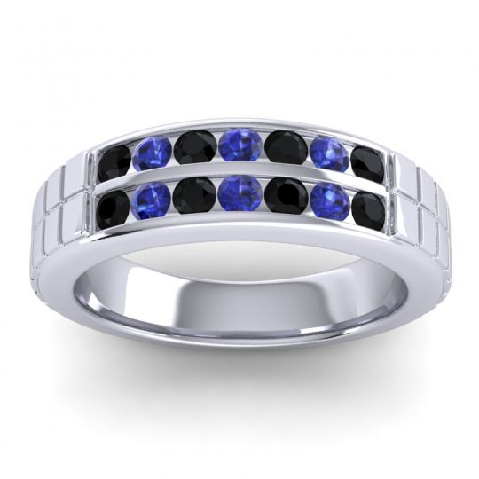 Black Onyx Polished Agkita Band with Blue Sapphire in 14k White Gold