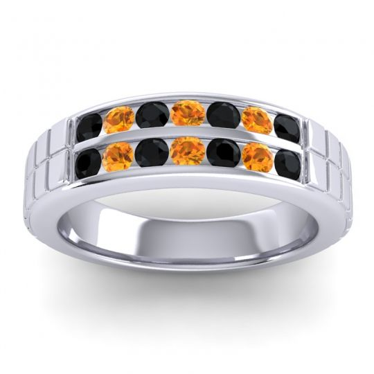 Black Onyx Polished Agkita Band with Citrine in Platinum