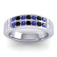 Blue Sapphire Polished Agkita Band with Black Onyx in Platinum