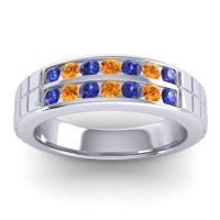 Blue Sapphire Polished Agkita Band with Citrine in Platinum
