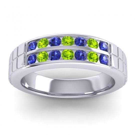 Blue Sapphire Polished Agkita Band with Peridot in Platinum