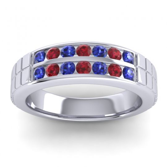 Blue Sapphire Polished Agkita Band with Ruby in 14k White Gold