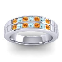 Citrine Polished Agkita Band with Aquamarine in 18k White Gold