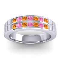 Citrine Polished Agkita Band with Pink Tourmaline in 18k White Gold
