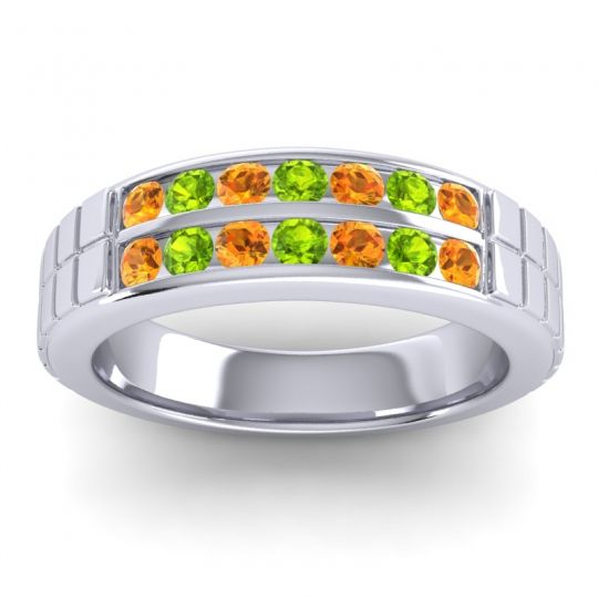 Citrine Polished Agkita Band with Peridot in 14k White Gold
