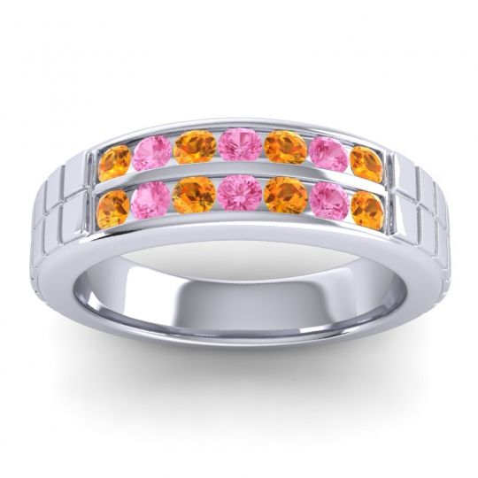 Citrine Polished Agkita Band with Pink Tourmaline in Platinum