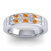 Diamond Polished Agkita Band with Citrine in 18k White Gold
