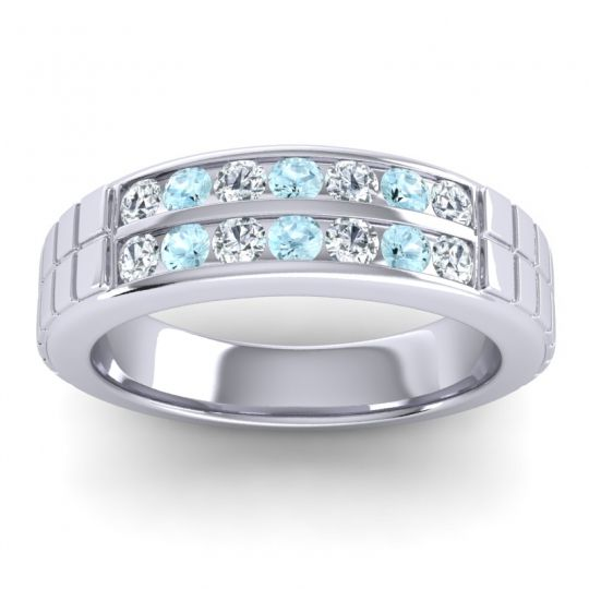 Polished Agkita Men's Diamond Band with Aquamarine in Platinum