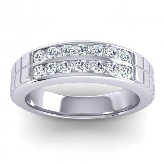 Polished Agkita Men's Diamond Band in 14k White Gold