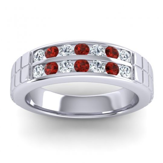 Diamond Polished Agkita Band with Garnet in Palladium