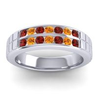 Garnet Polished Agkita Band with Citrine in 18k White Gold