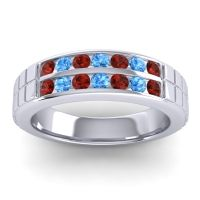 Polished Agkita Men's Garnet Band with Swiss Blue Topaz in 14k White Gold