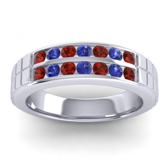 Garnet Polished Agkita Band with Blue Sapphire in 18k White Gold