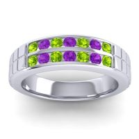Peridot Polished Agkita Band with Amethyst in 18k White Gold