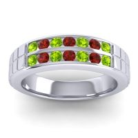 Peridot Polished Agkita Band with Garnet in 18k White Gold