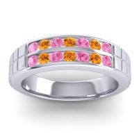 Pink Tourmaline Polished Agkita Band with Citrine in 18k White Gold
