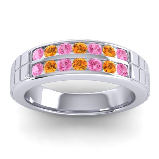 Pink Tourmaline Polished Agkita Band with Citrine in 14k White Gold