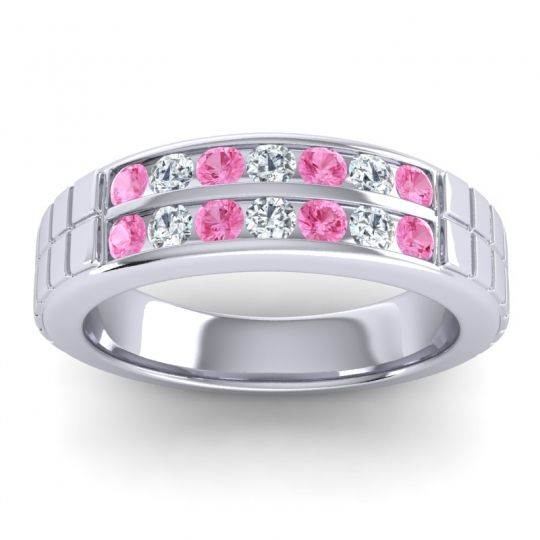 Pink Tourmaline Polished Agkita Band with Diamond in Palladium