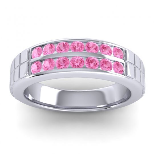 Pink Tourmaline Polished Agkita Band in 14k White Gold