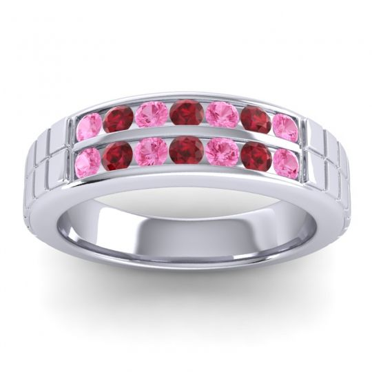 Pink Tourmaline Polished Agkita Band with Ruby in 18k White Gold