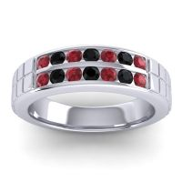 Polished Agkita Men's Ruby Band with Black Onyx in Platinum