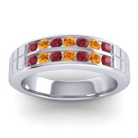 Ruby Polished Agkita Band with Citrine in Platinum