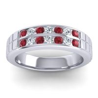 Ruby Polished Agkita Band with Diamond in 18k White Gold