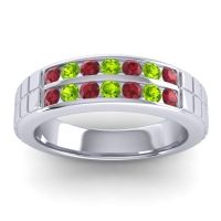 Ruby Polished Agkita Band with Peridot in Platinum