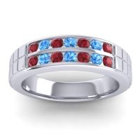 Ruby Polished Agkita Band with Swiss Blue Topaz in Palladium