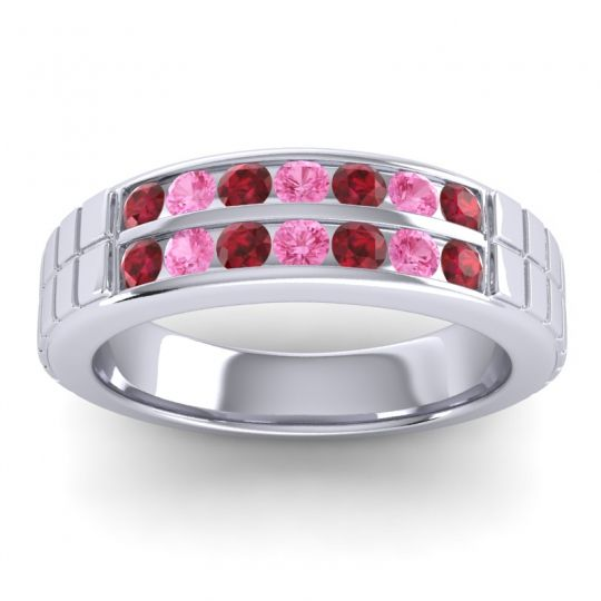 Ruby Polished Agkita Band with Pink Tourmaline in Platinum