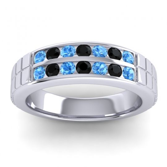 Swiss Blue Topaz Polished Agkita Band with Black Onyx in Platinum