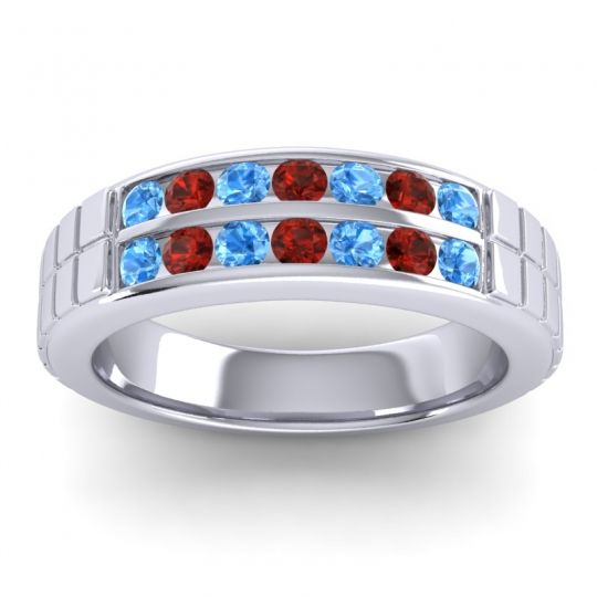 Swiss Blue Topaz Polished Agkita Band with Garnet in Platinum
