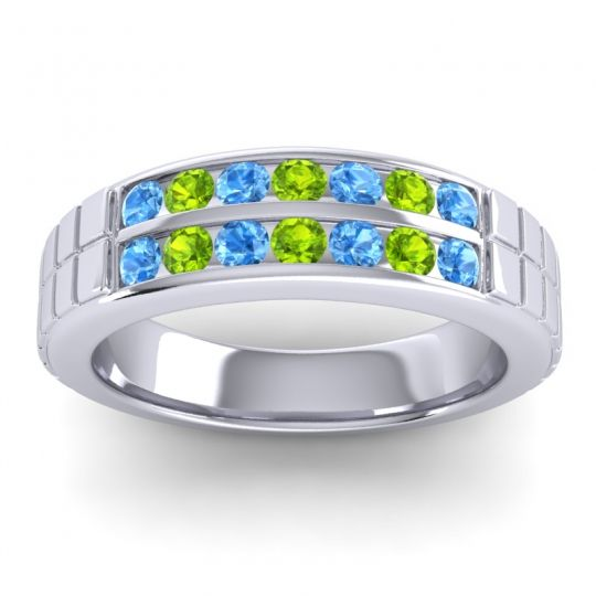 Swiss Blue Topaz Polished Agkita Band with Peridot in 18k White Gold