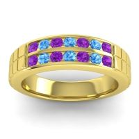 Amethyst Polished Agkita Band with Swiss Blue Topaz in 18k Yellow Gold