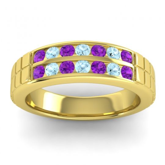 Amethyst Polished Agkita Band with Aquamarine in 18k Yellow Gold