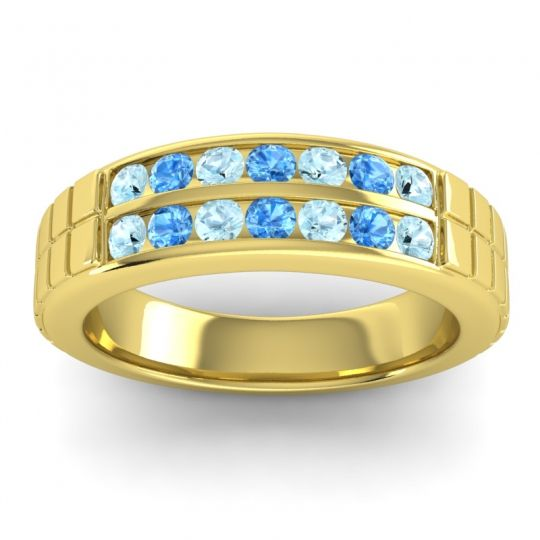 Aquamarine Polished Agkita Band with Swiss Blue Topaz in 18k Yellow Gold