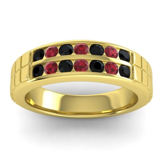 Black Onyx Polished Agkita Band with Ruby in 18k Yellow Gold
