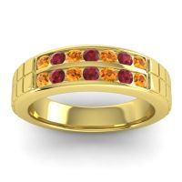 Citrine Polished Agkita Band with Ruby in 14k Yellow Gold