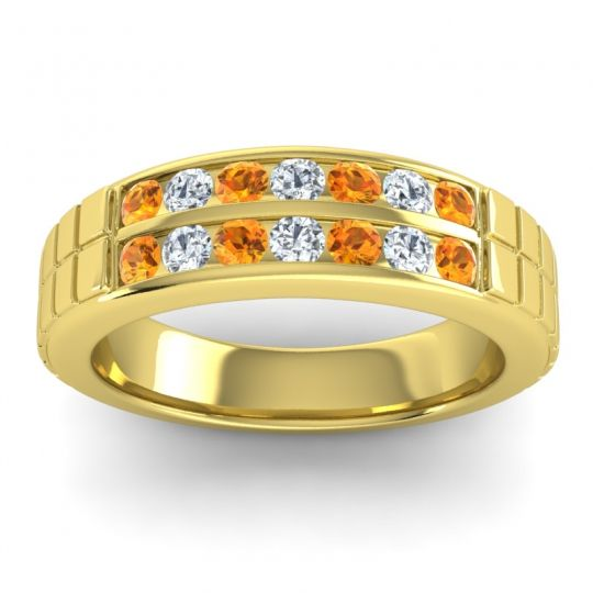 Citrine Polished Agkita Band with Diamond in 18k Yellow Gold