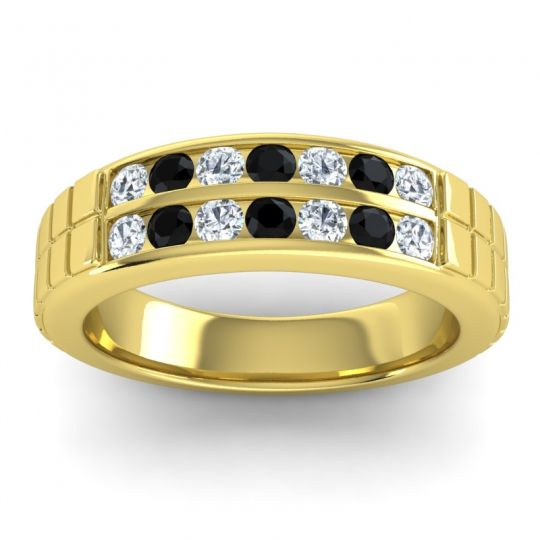 Polished Agkita Men's Diamond Band with Black Onyx in 14k Yellow Gold