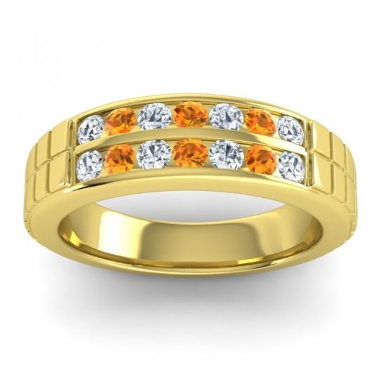 Diamond Polished Agkita Band with Citrine in 18k Yellow Gold