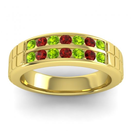 Polished Agkita Men's Peridot Band with Garnet in 18k Yellow Gold
