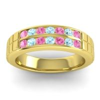 Pink Tourmaline Polished Agkita Band with Aquamarine in 18k Yellow Gold