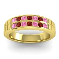 Pink Tourmaline Polished Agkita Band with Garnet in 18k Yellow Gold