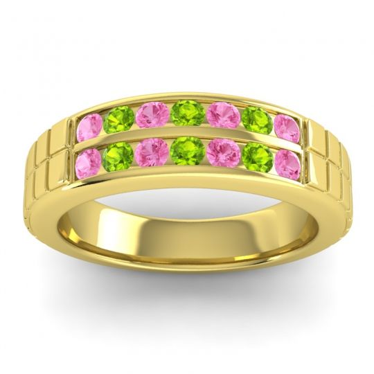 Pink Tourmaline Polished Agkita Band with Peridot in 18k Yellow Gold