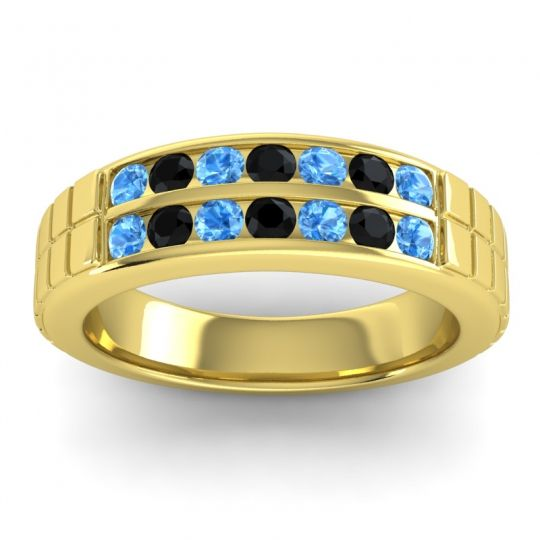 Swiss Blue Topaz Polished Agkita Band with Black Onyx in 14k Yellow Gold