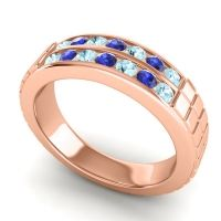 Aquamarine Polished Agkita Band with Blue Sapphire in 14K Rose Gold