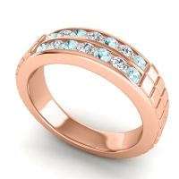 Aquamarine Polished Agkita Band with Diamond in 18K Rose Gold